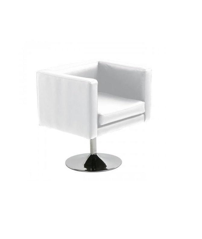 Aluguer Poltrona Pele. Branco. 60 x 60 x 72 cms. Magnezya Event Support