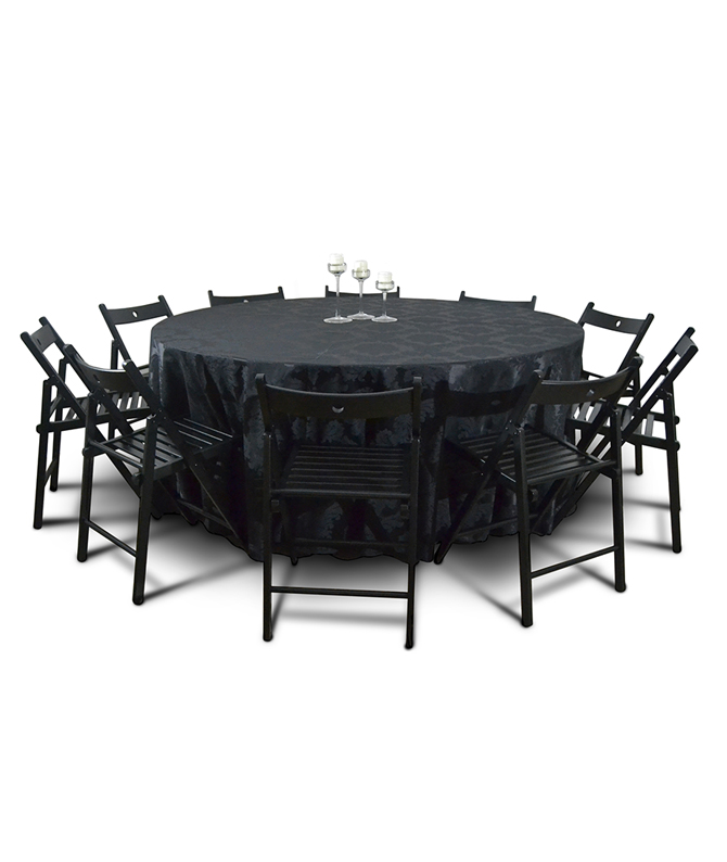 Aluguer Mesa Redonda 10 Pax c Camilha Preta Adamascada e Cadeira Dobrável Alugar Eventos. Magnezya Event Support