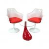 Aluguer Poltrona Tulipa Vermelho e Mesa Pear Vermelho Alugar Eventos. Magnezya Event Support