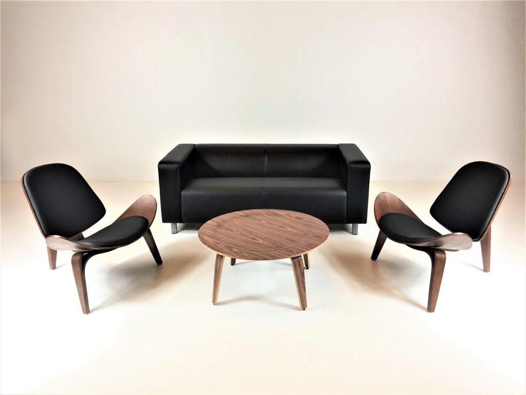 Aluguer Set, Sofá Napa 02 Lug. Preto. Cadeira Nórdica Shell e Mesa Centro Nórdica. Magnezya Event Support