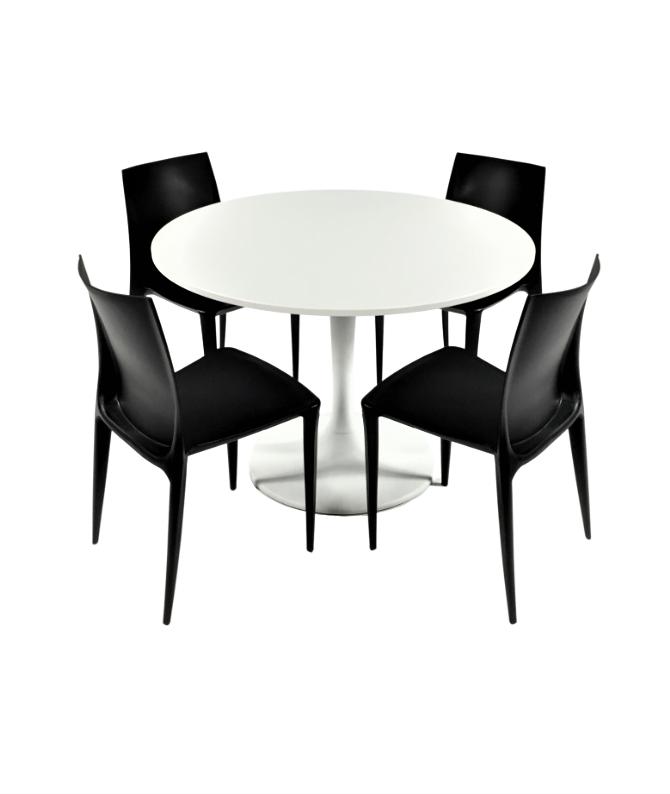 Aluguer Mesa Tulipa e Cadeira Plástica Preto Alugar Eventos. Magnezya Event Support