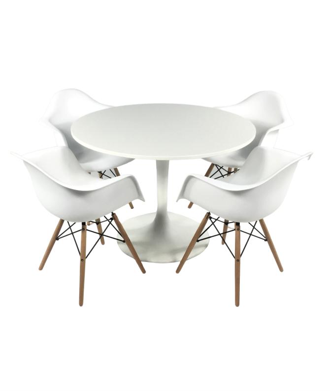 Aluguer Mesa Tulipa e Cadeira Daw Eiffel Branco. Alugar Eventos. Magnezya Event Support