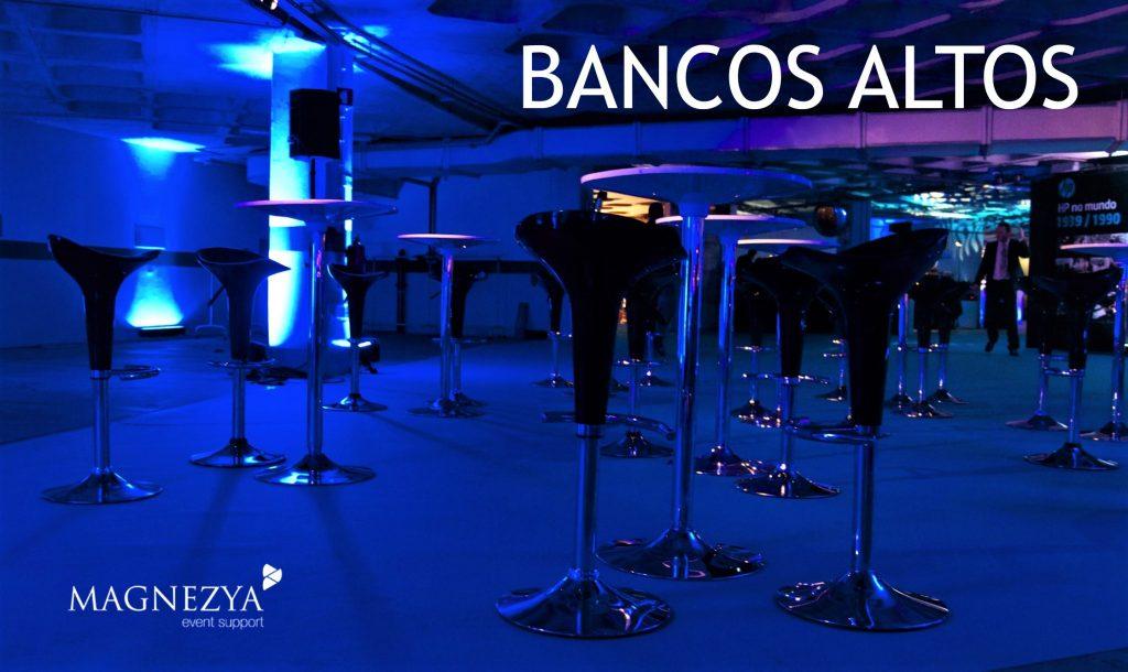 Aluguer Bancos Altos. Magnezya Event Support