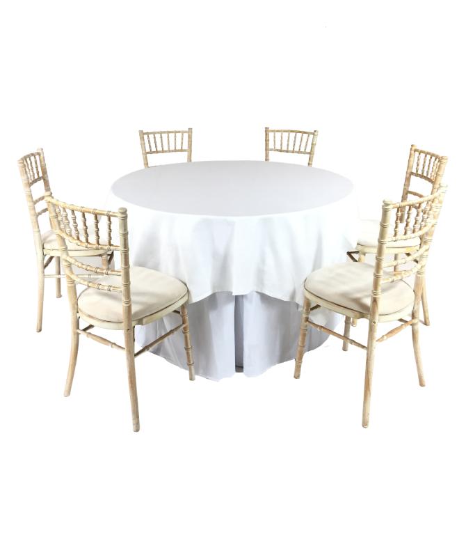 Aluguer Conjunto. Mesa Redonda 06 Pax c Toalha e Rodapé Branco e Cadeira Chiavari Decapé. Alugar Eventos. Magnezya Event Support